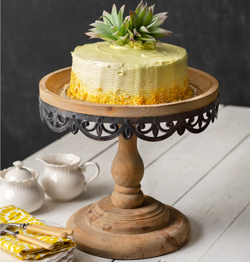 LARGE Wood and Metal Cake Stand