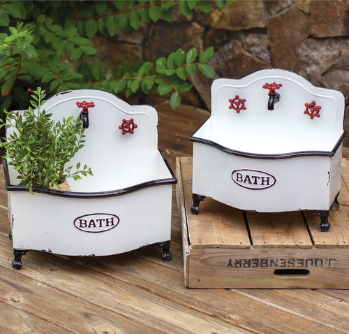 Enamel Bath Sink Planters, Set of 2