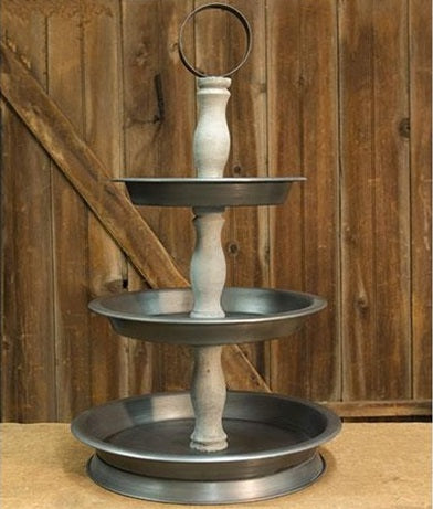 LARGE 3-Tier Wood and Metal Tray