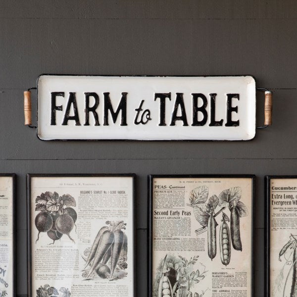 Vintage Embossed Metal Farm to Table Tray / Wall Decor