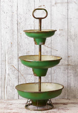 HUGE Vintage Green Enamel 3-Tier Tray