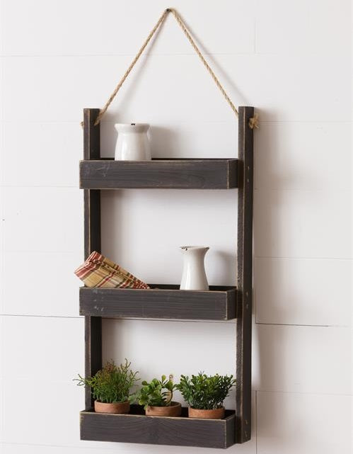 3-Tier Tray Style Hanging Wood and Rope Shelf