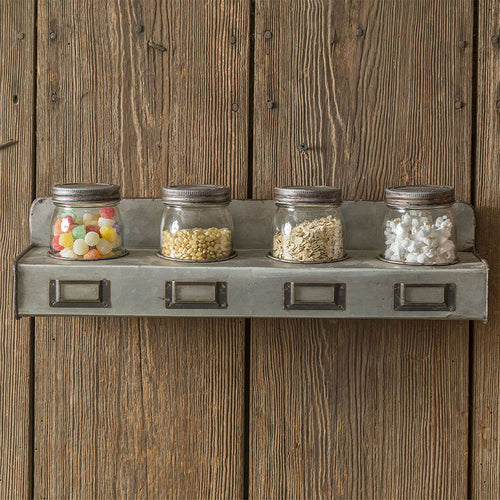 Galvanized Storage Bin with Jars