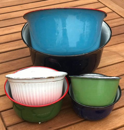 Authentic Vintage Enamelware Bowls, Set of 6