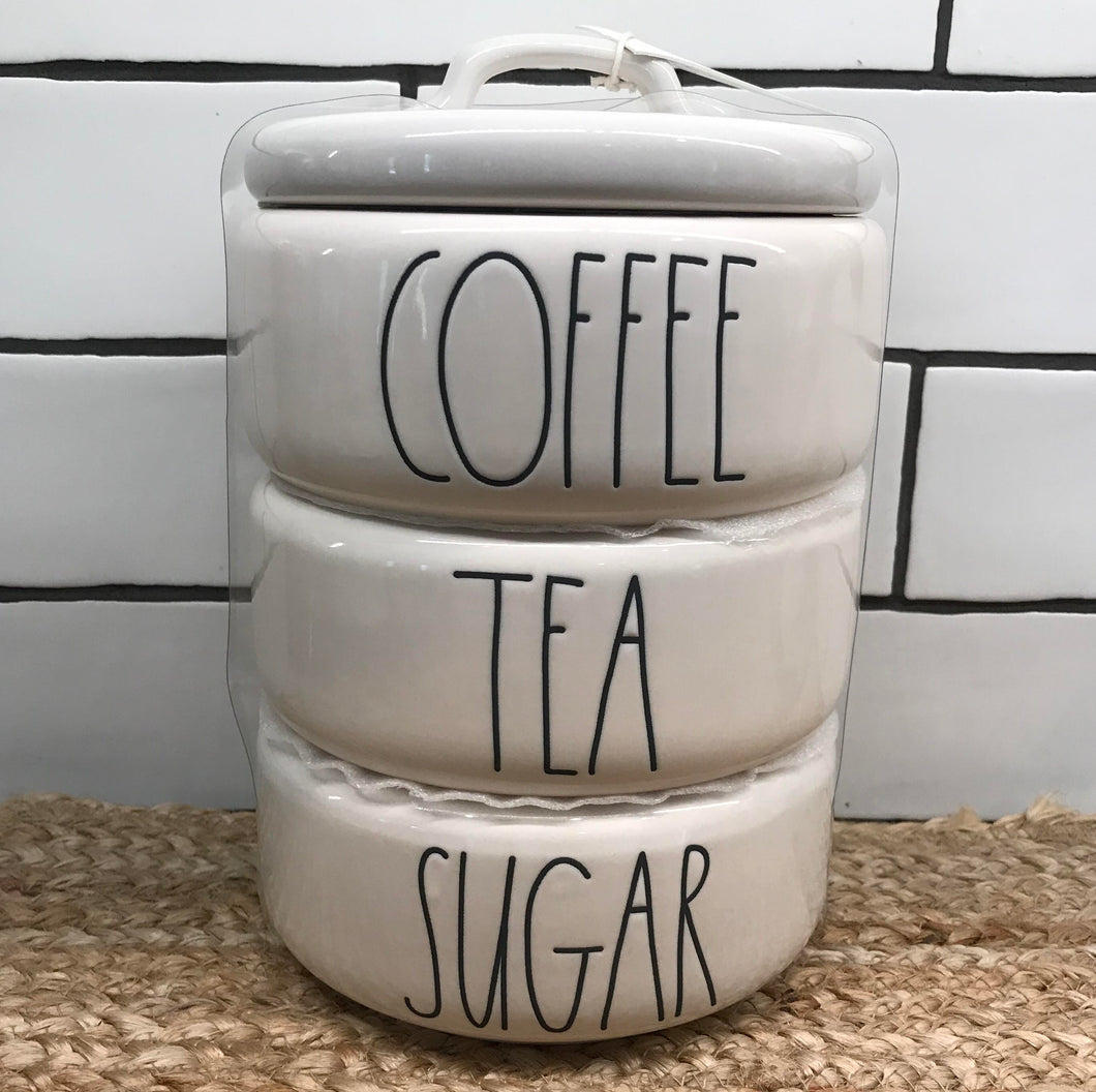 New Rae Dunn COFFEE, TEA, SUGAR Stacked Canister