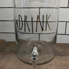 "New Rae Dunn Glass ""DRINK"" Beverage Dispenser with Gold Writing"