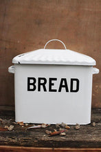 "Enameled Metal ""Bread"" Box in Distressed White"