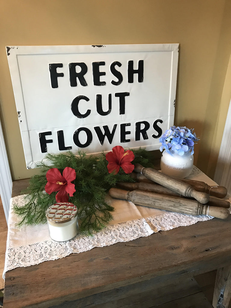 vintage embossed metal fresh cut flowers sign