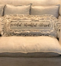 Handmade Vintage Inspired Grateful.Thankful.Blessed Pillow Cover