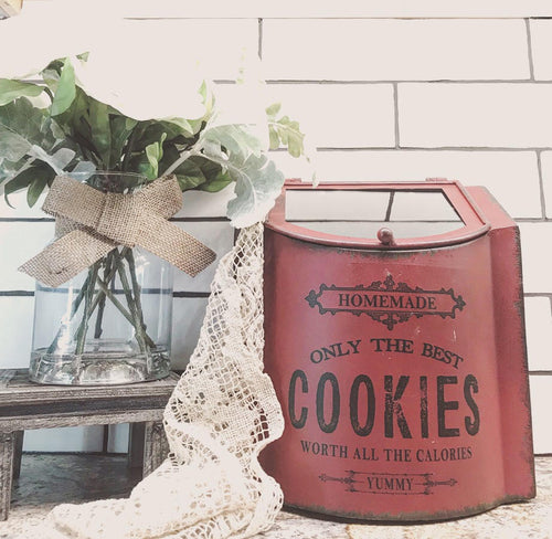LARGE Vintage Style Distressed Red Metal Cookie Box