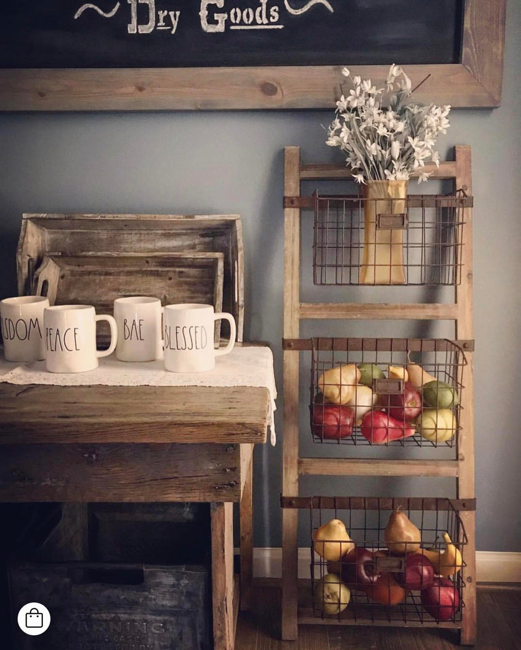 Wooden Ladder Shelf With Wire Baskets