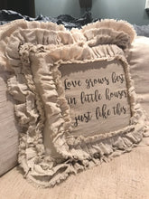 Handmade Vintage Inspired Love Grows Best... Pillow Cover