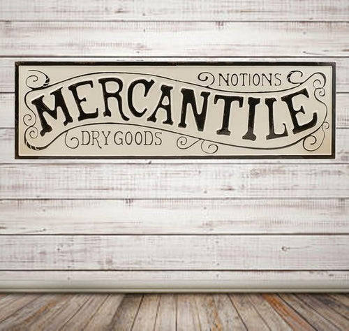 Vintage Embossed Metal MERCANTILE ~ Notions and Dry Goods Sign