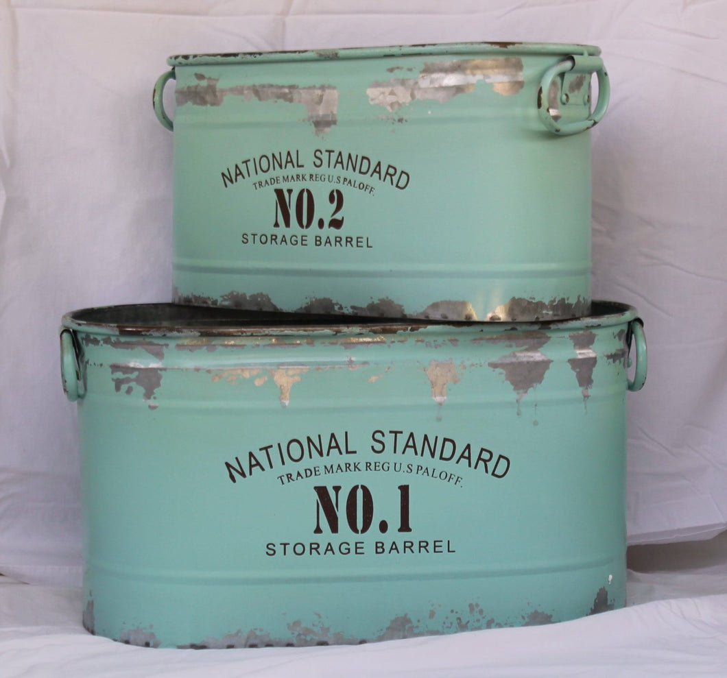 Vintage Inspired National Standard Buckets, Set of 2