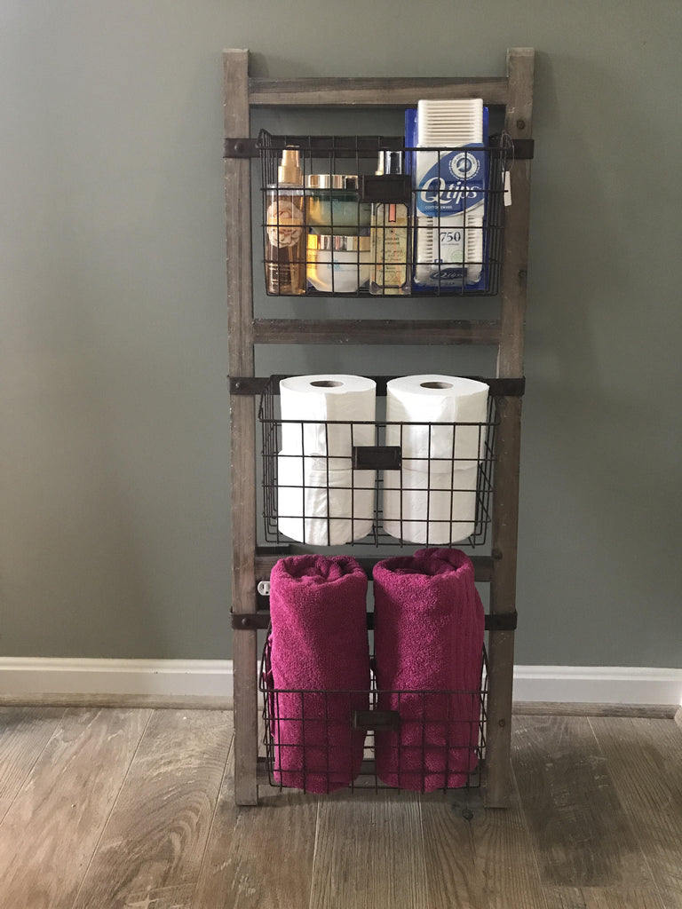 Wooden Ladder Shelf With Wire Baskets Farmhouse Fresh Home