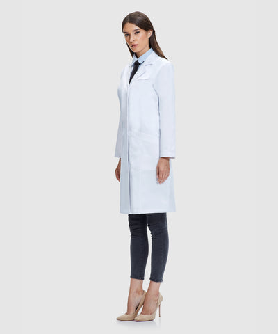 women entering science with designer lab coats