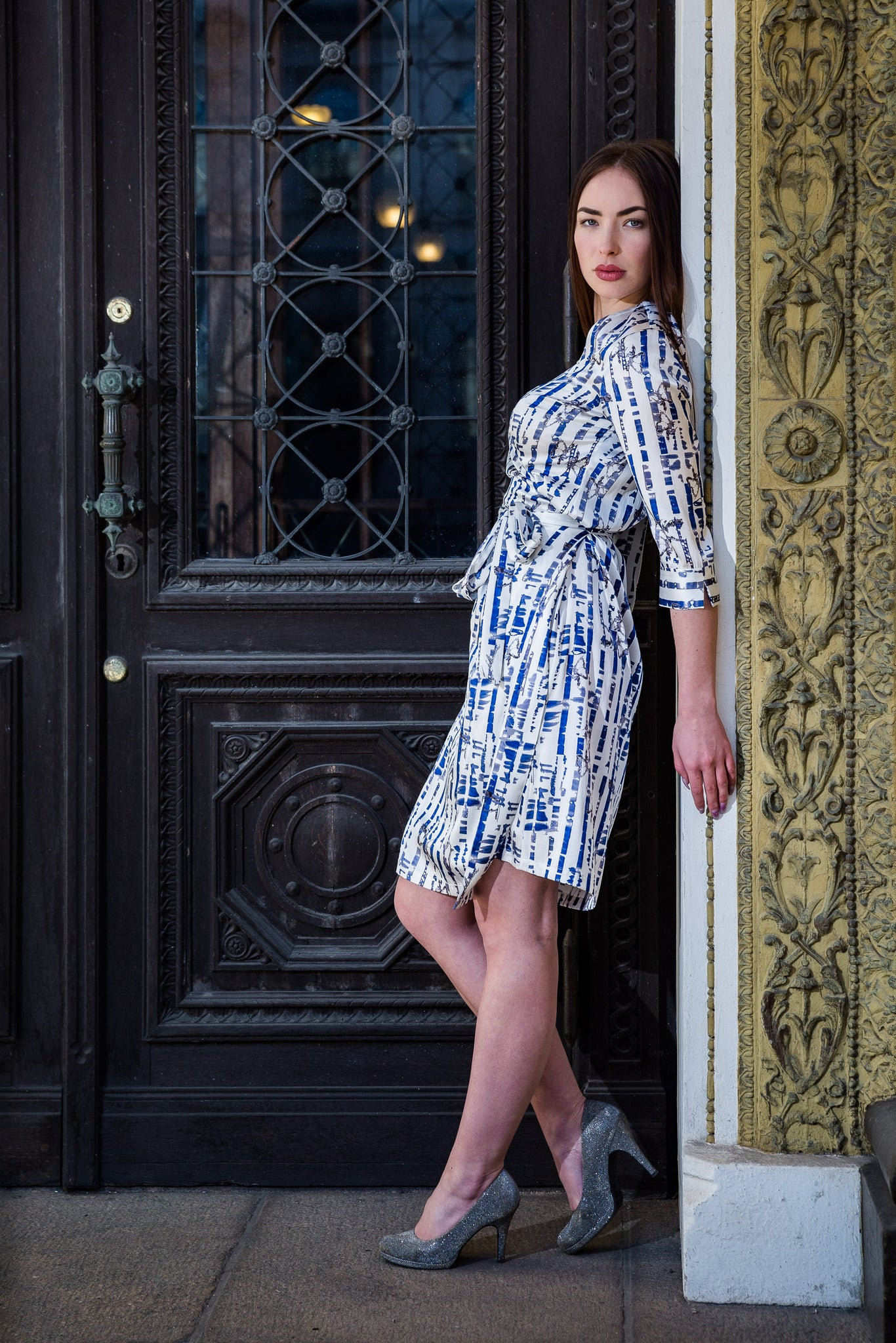Wrap dress, Path blue & white, elastic silk