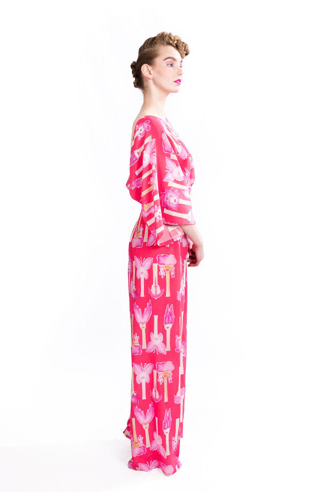 Jumpsuit, butterfly pink, silk