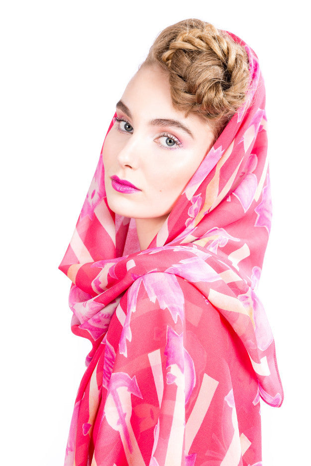 Scarf, butterfly pink, silk