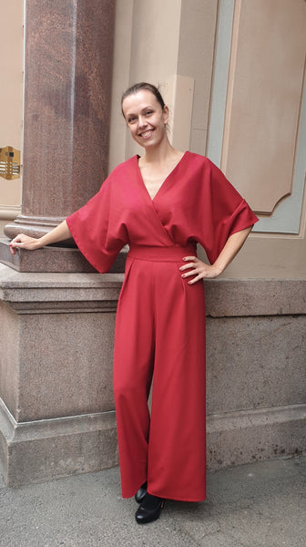 Jumpsuit, dark side RED, wool crepe