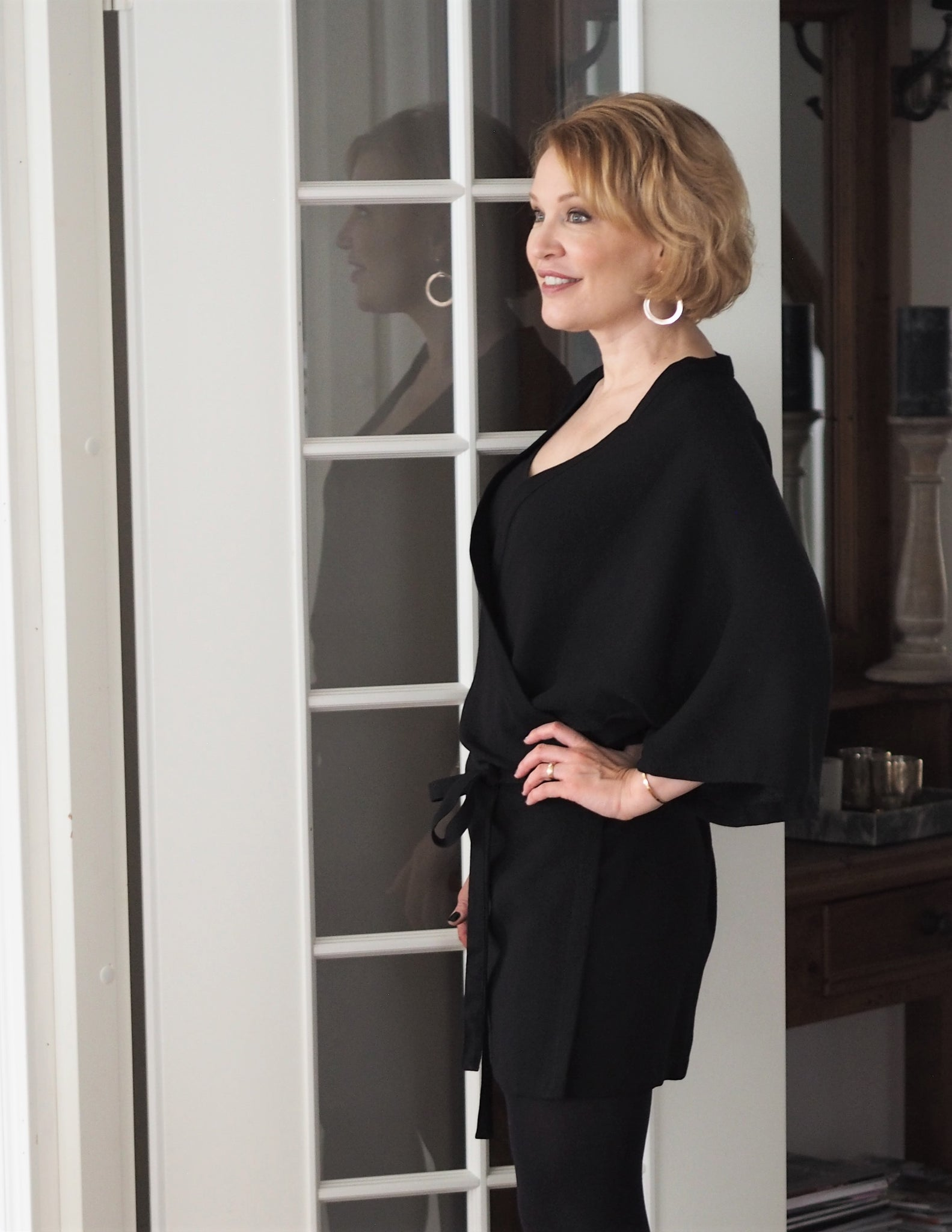 Wrap dress/kimono, black, wool crepe