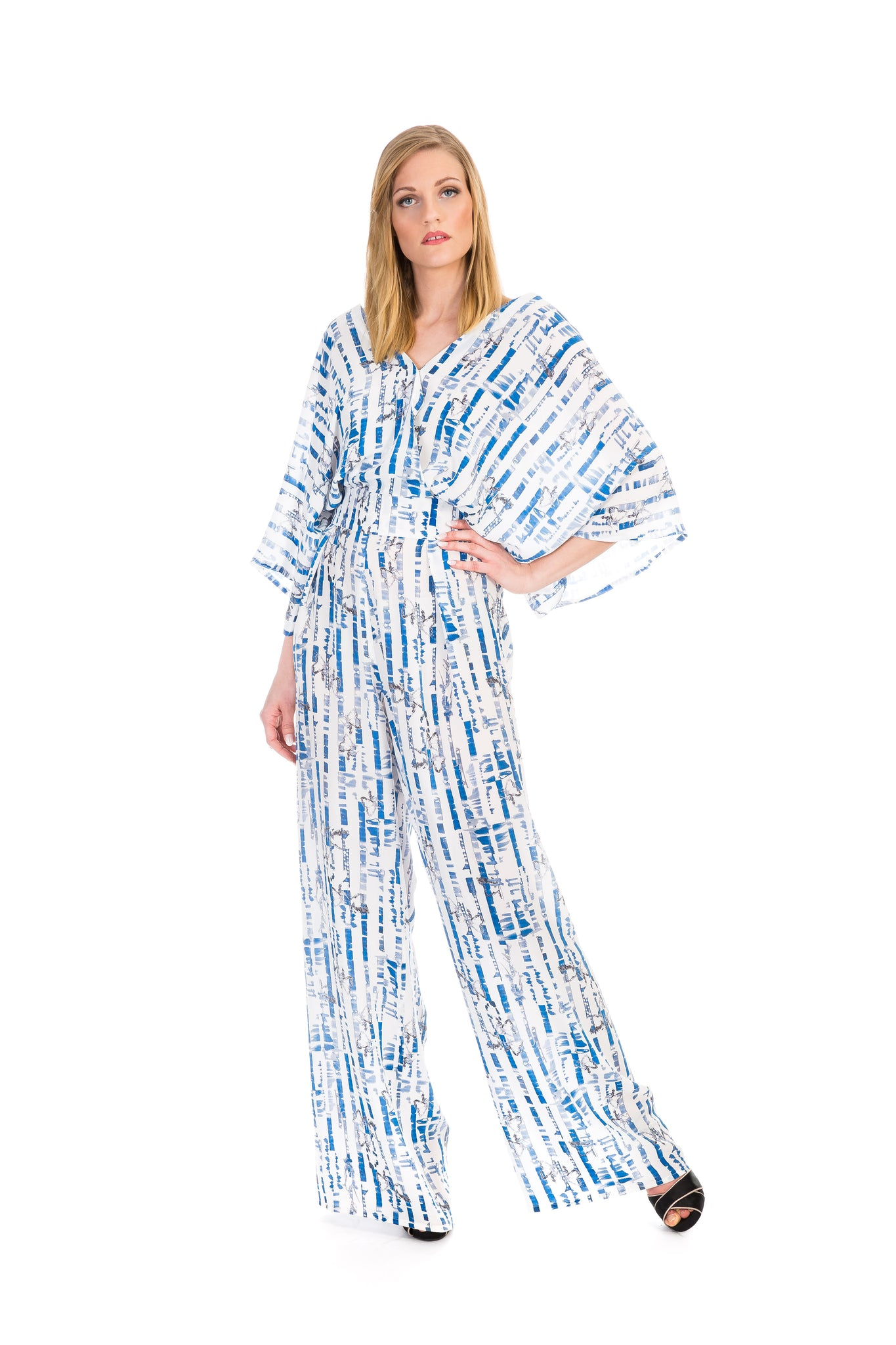 Jumpsuit, path blue white, silk