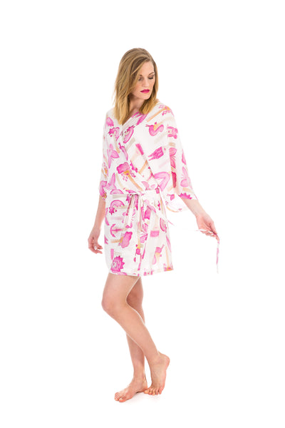 Wrap dress/kimono, butterfly white, silk