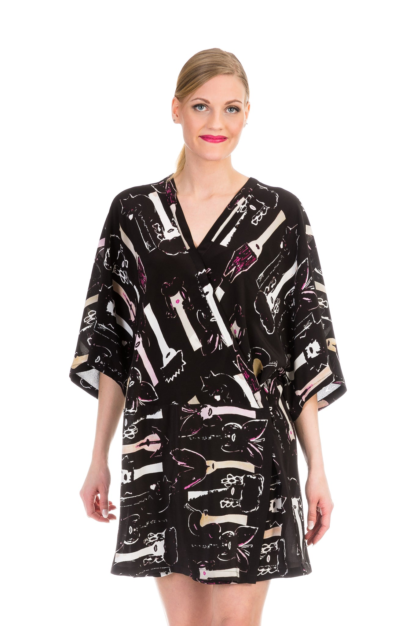 Wrap dress/kimono, butterfly black, silk