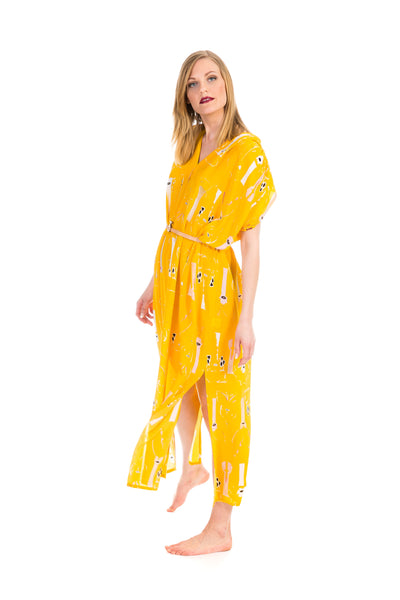 Versatile dress, butterfly yellow, one size