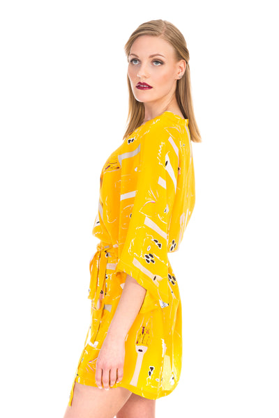 Wrap dress/kimono, butterfly yellow, silk