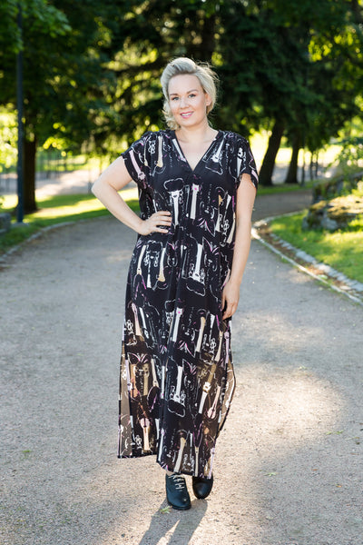 Versatile dress, butterfly black, one size