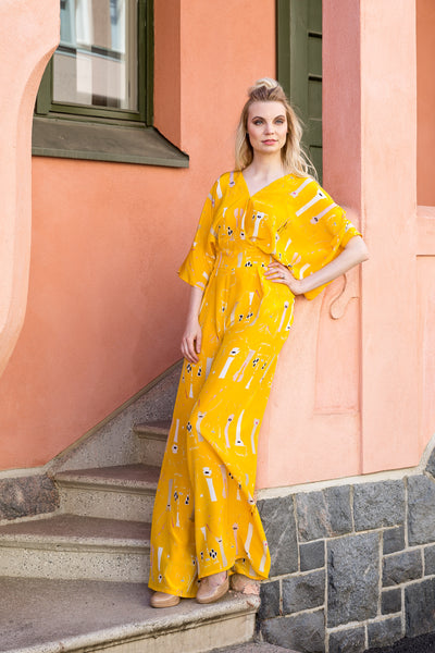 Jumpsuit, butterfly yellow, silk