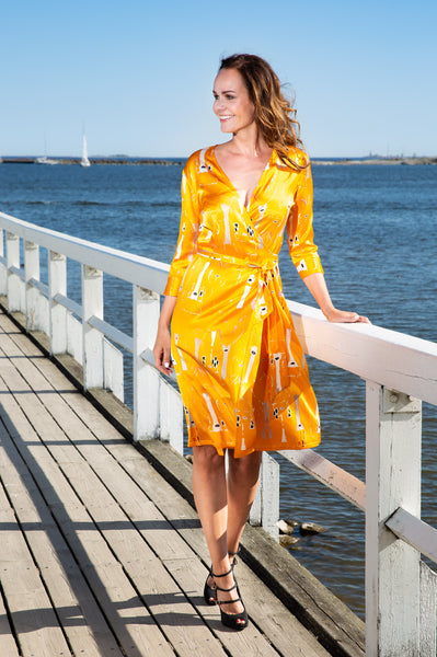 Wrap dress, Butterfly yellow, elastic silk