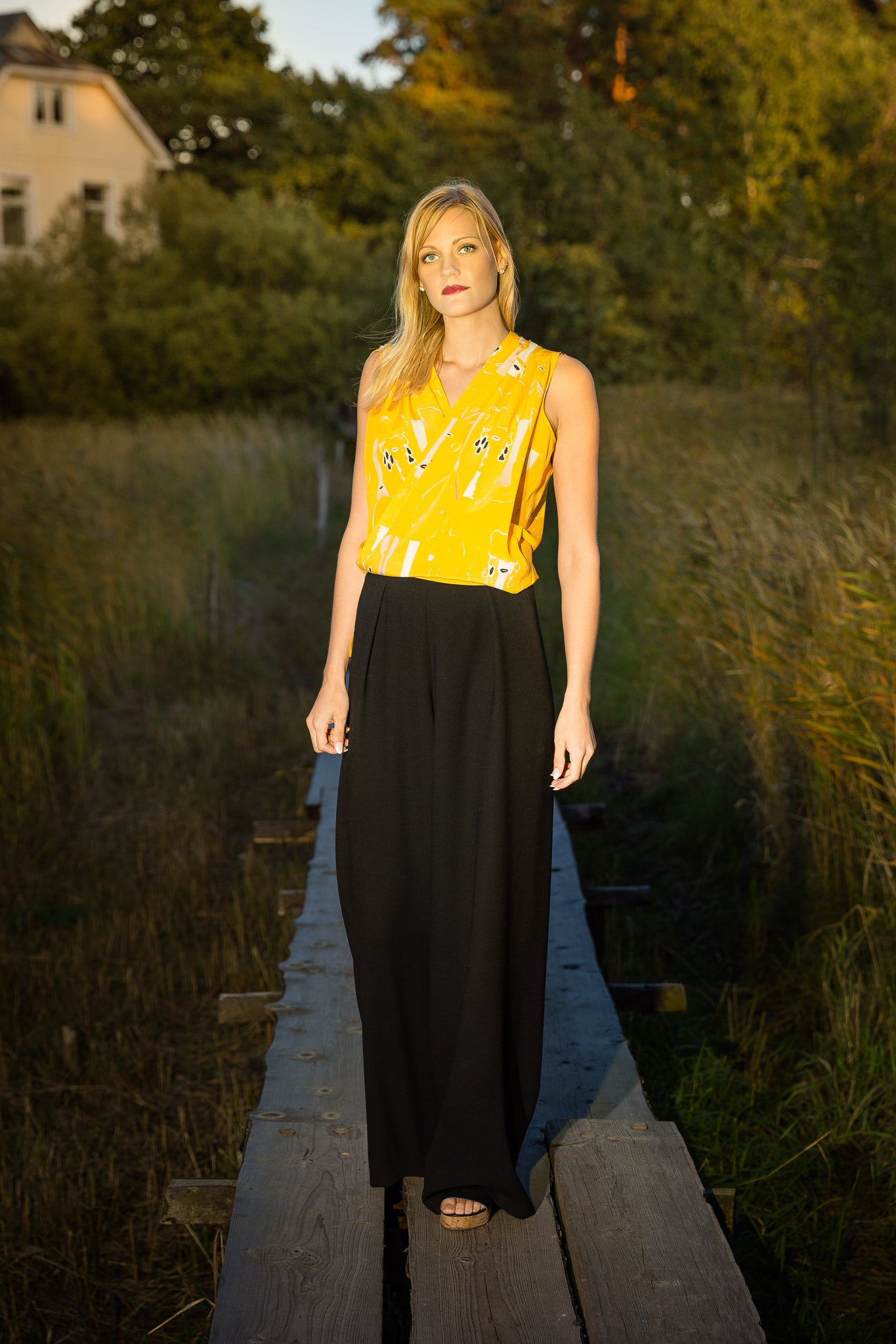 Wrap top, Butterfly print, yellow, silk