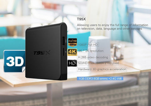 T95X Amlogic S905X TV Box Android 6.0 4K H.265 2.4G WiFi 1G RAM 8G eMMC ROM KODI 16.1 1080P Full HD Smart Media Player
