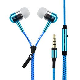 Zipper Earphones In-Ear Metal Zipper Earphones With Mic 3.5Mm Jack