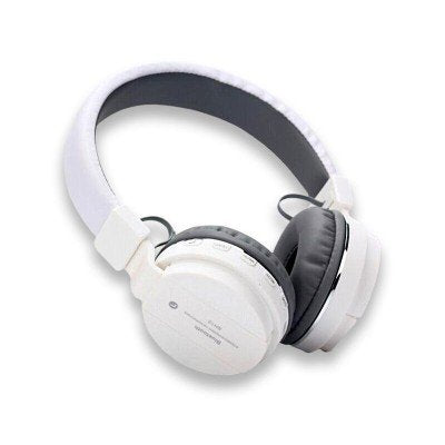 SH12 wireless/ Bluetooth Headphone With FM and SD Card Slot/ with music and calling controls (white)