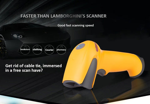 Wireless barcode scanner gun express single dedicated supermarket Retail Stores bar code reader with function of storage- PremiumAV