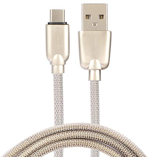 PremiumAV Durable USB Type C Braided Fast Charging Cable Compatible with Samsung Galaxy S10/S9/S8 A40/A50/A70/A20/A10e/,Huawei P20/P10/P30 P9,Hero7/6/5,Sony Xperia Gold