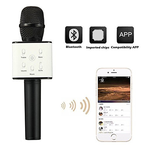PremiumAV Black Bluetooth Mike / Mike, Portable Handheld Mic / Mike with Speaker
