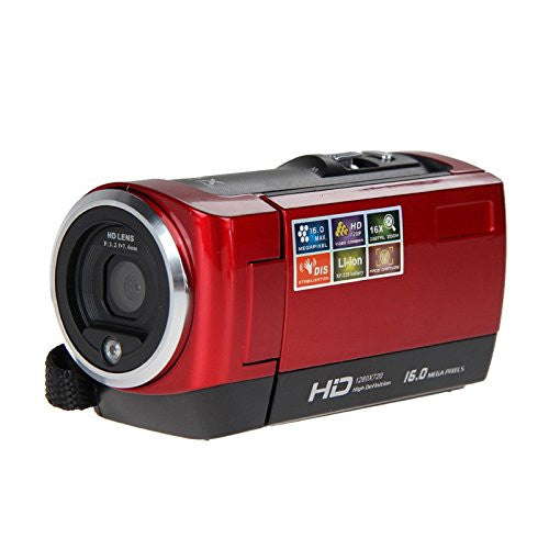 "Red HD 720P 16MP Digital Video Camcorder Camera DV DVR 2.7""TFT LCD 16X digital zoom 10.8*5.3*6.1cm"