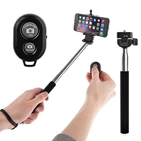 PremiumAV Bluetooth Selfie Monopod with built-in Bluetooth shutter color may vary
