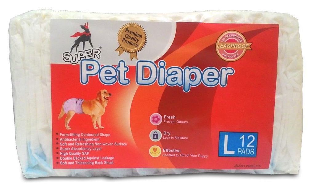 Super Dog Diaper (Large, 12 Pieces)