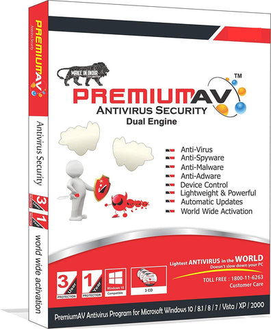 PremiumAV Antivirus Latest Edition - 3 User 1 Year