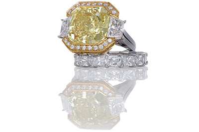 12 Carat Fancy Intense Yellow Cushion Cut Diamond Engagement Ring