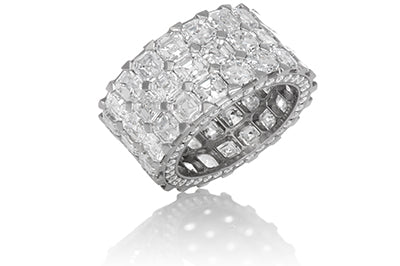 3 Row Asscher Cut Diamond Anniversary Band