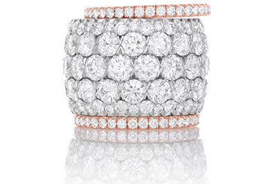 5 Row Diamond Anniversary Band with Matching Guards