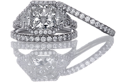 7 Carat Cushion Cut and Trilliant Diamond Engagement Ring with Halo
