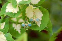Aqua and Peridot Charm Earrings