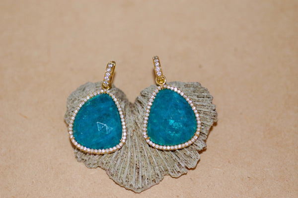 Apatite Slice Charm Earrings